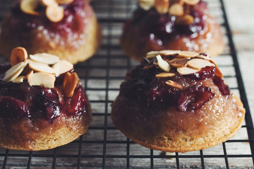 upside down cherry vanilla almond cakes_hot for food