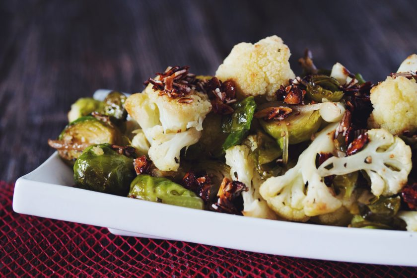 roasted brussels & cauliflower_hot for food