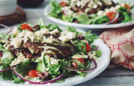 greek salad with mushroom walnut souvlaki_hot for food