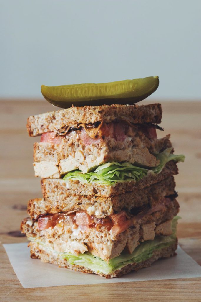 vegan clubhouse sandwich_hot for food