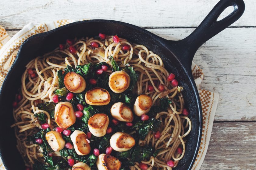 vagan scallops with spaghetti_hot for food