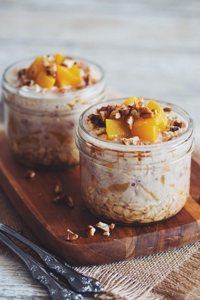 maple peach pecan overnight oats_hot for food