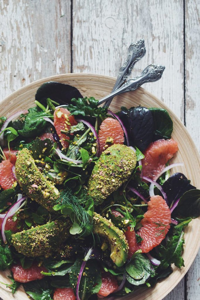 grapefruit pistachio crusted avocado summer salad_hot for food