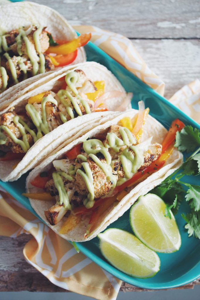 grilled cauliflower tacos with mango slaw_hot for food