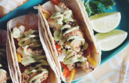 grilled cauliflower tacos with mango slaw & avocado crema_hot for food