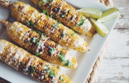 grilled corn on the cob with coconut lime cream_hot for food