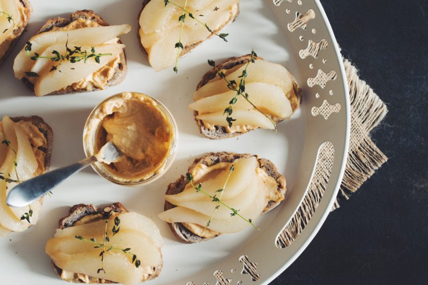 smoked cashew cheese toast with poached pear & fried thyme_hot for food