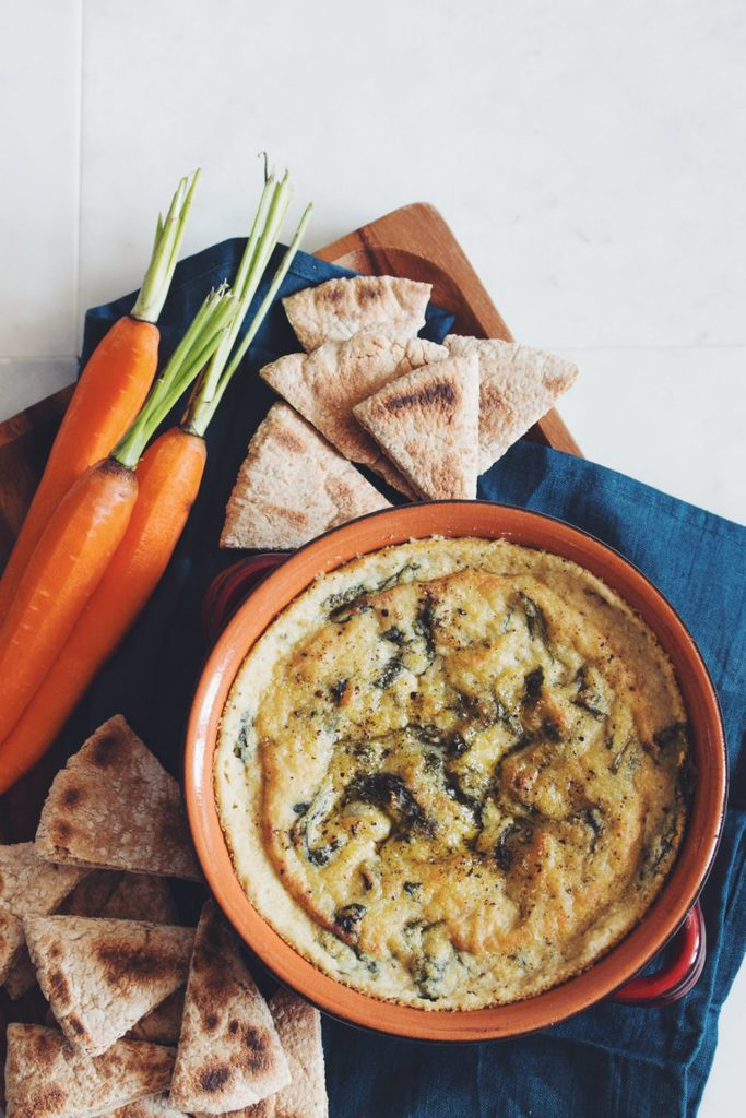 vegan spinach and artichoke dip_hot for food