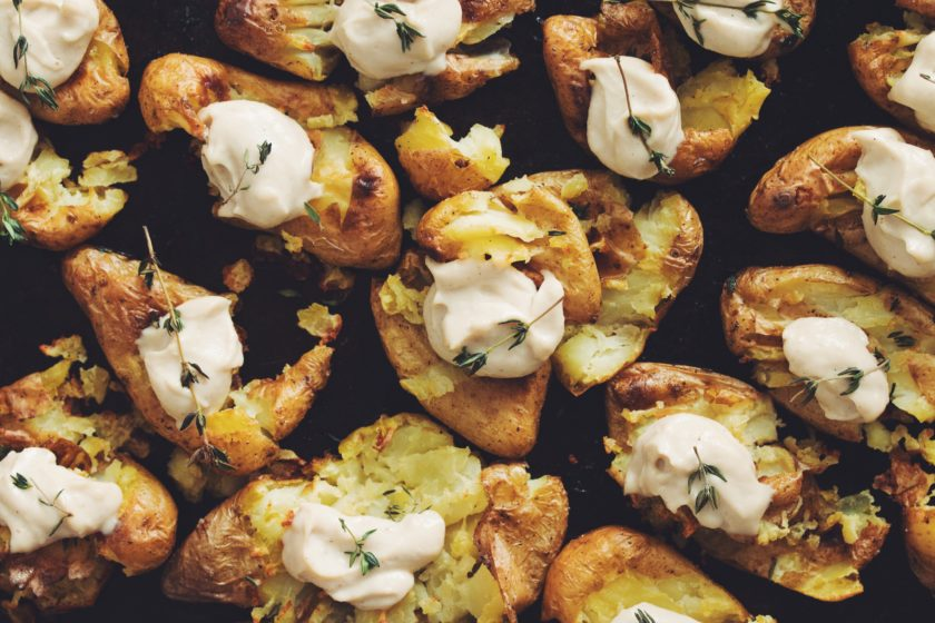 smashed potatoes with roasted cashew cream_hot for food