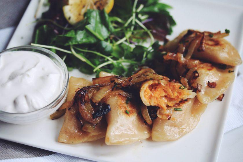 vegan sweet potato & sauerkraut pierogies_hot for food