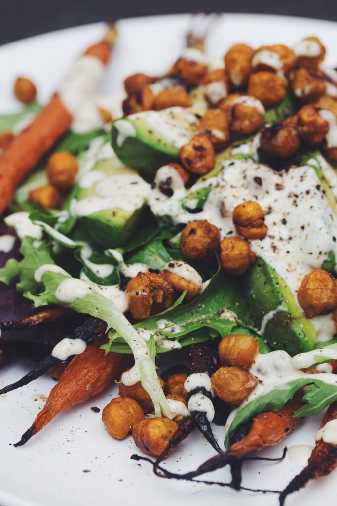 roasted carrot and avocado salad with curried chickpeas_hot for food
