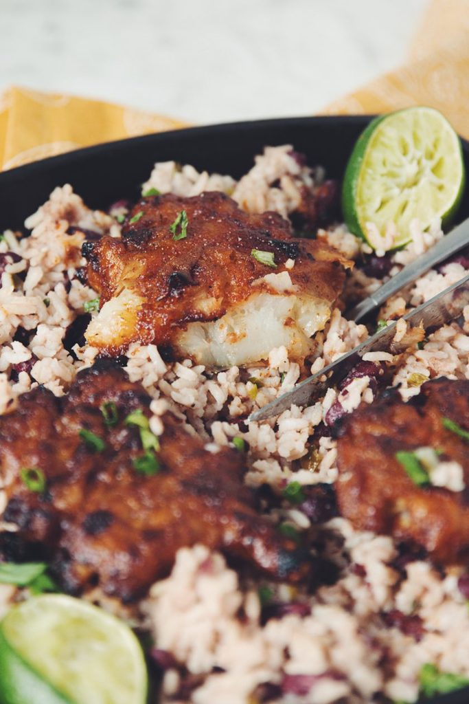 spiced rum jerk sunchokes with rice & beans_hot for food