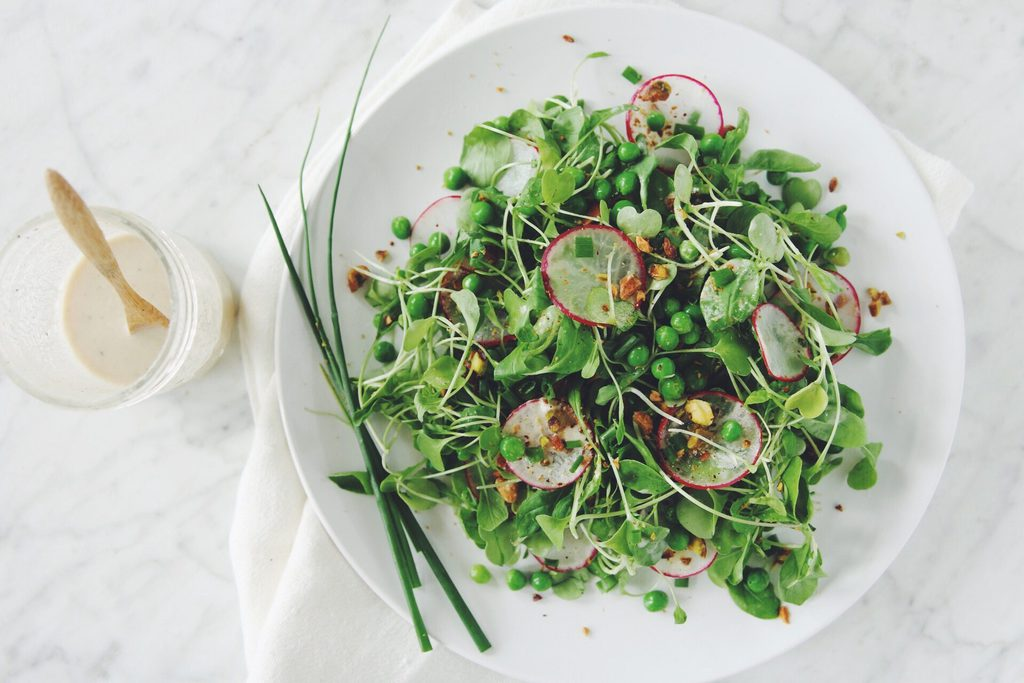 arugula salad with peas and pistachios_hot for food
