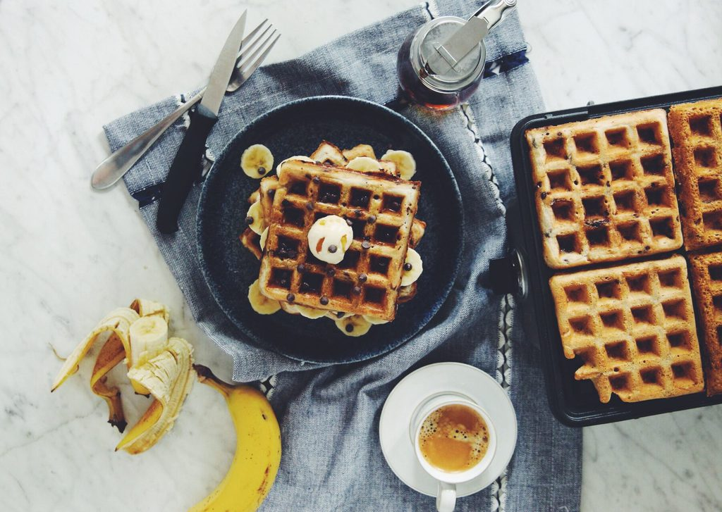 chocolate chip banana waffles_hot for food