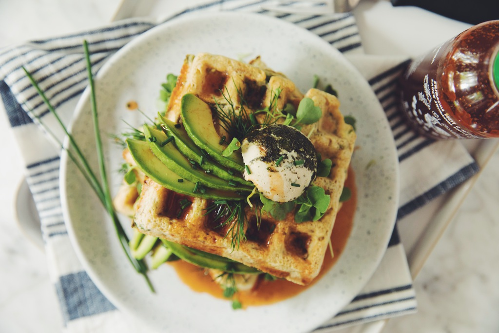 green waffles with spinach, avocado and sriracha maple syrup_hot for food