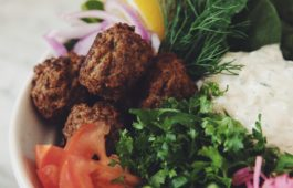 vegan falafel bowls with roasted cauliflower