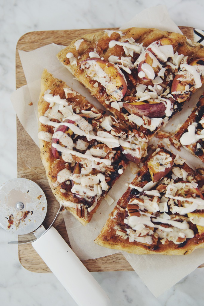 grilled peach dessert pizza