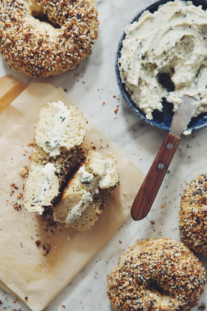 everything bagels and herb & garlic tofu cream cheese | hot for food