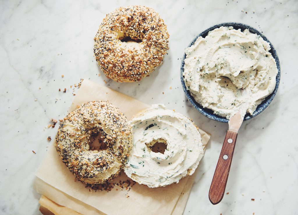 vegan everything bagels and herb & garlic cream cheese