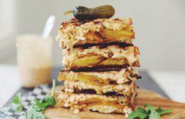 golden beet pastrami reuben style sandwiches