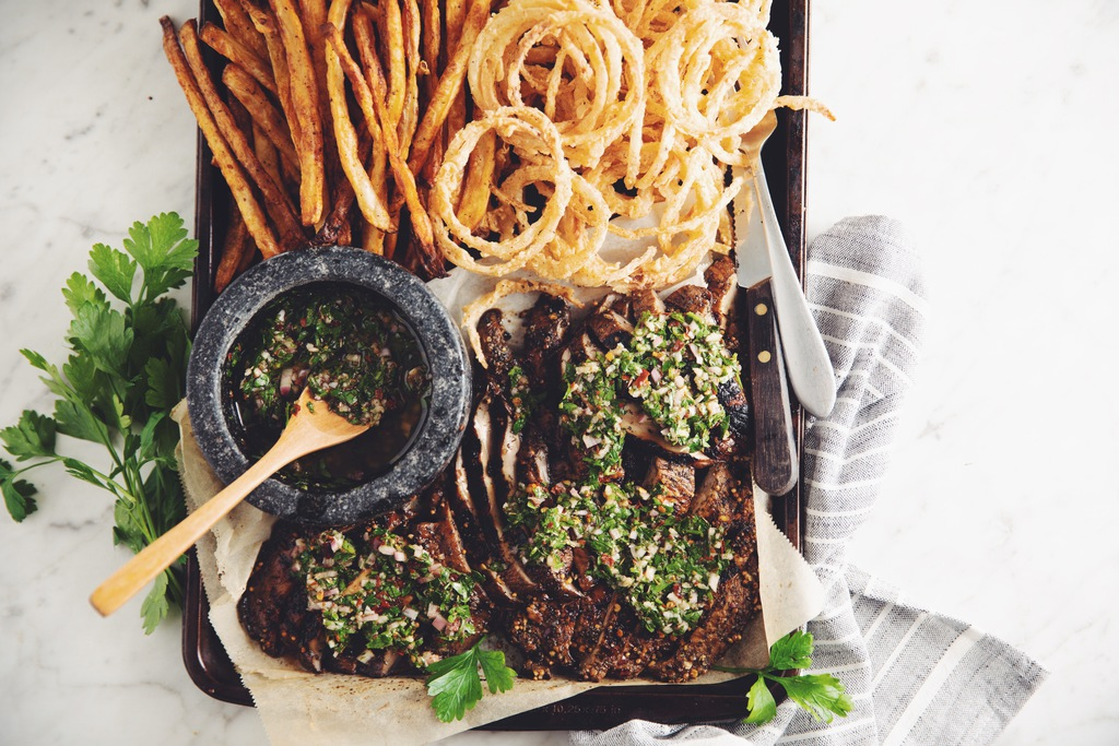 grilled portobello steaks with chimichurri & onion strings_hot for food