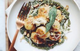 vegan gnudi with walnut sage pestp