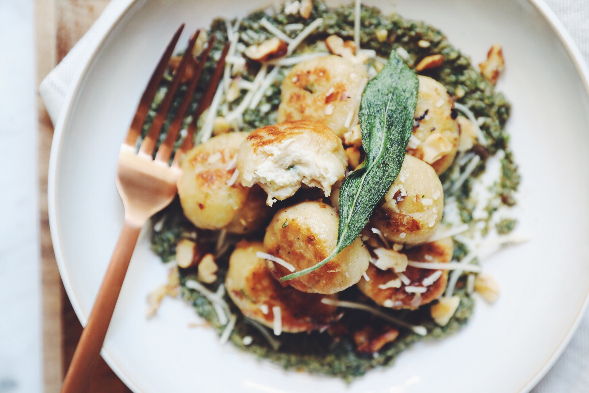 vegan gnudi with walnut sage pesto_hot for food