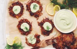 potato & sauerkraut latkes with lemon dill sour cream_hot for food