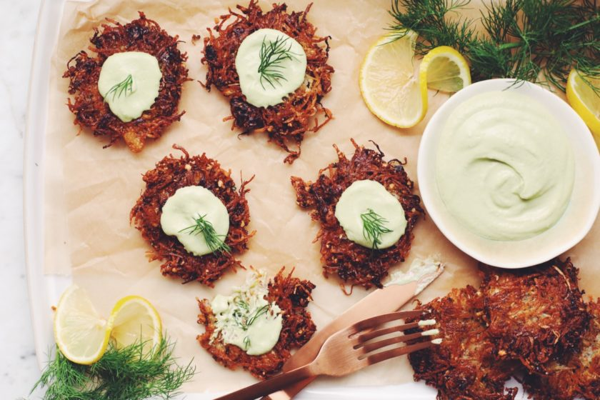potato sauerkraut latkes with lemon dill sour cream_hot for food