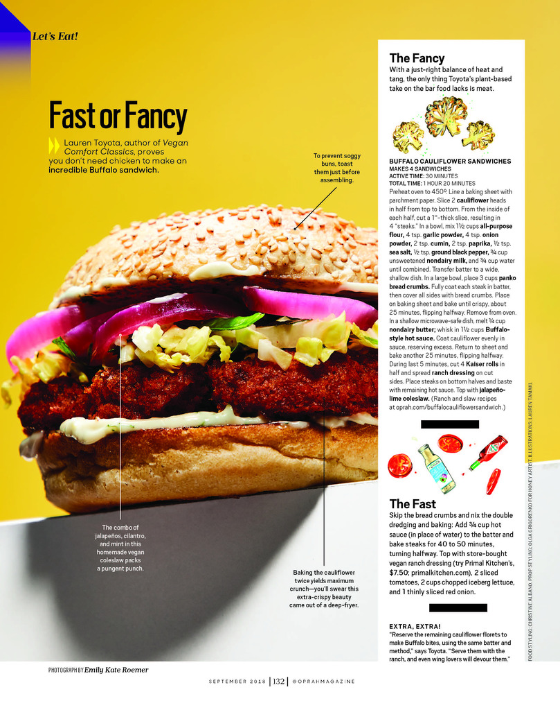 O Magazine_Sept. 18 Fast Fancy Buffalo Cauliflower_hot for food