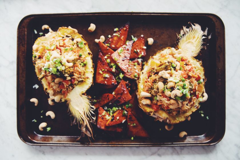 sheet pan pineapple coconut rice_hot for food