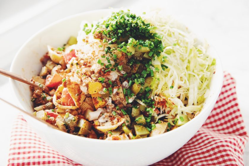 vegan cheeseburger pasta salad_hot for food