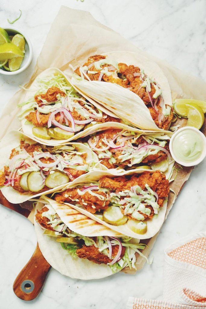 vegan nashville hot chicken taco_hot for food