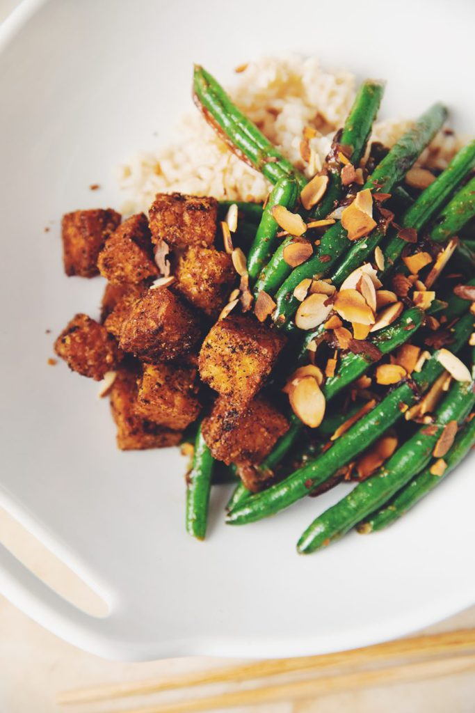 tempeh croutons and miso green beans_hot for food