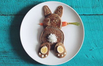 vegan easter bunny pancakes - hot for food