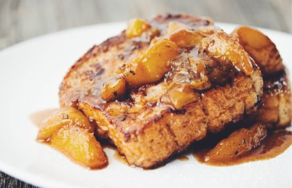 french toast and rosemary peach compote_hot for food
