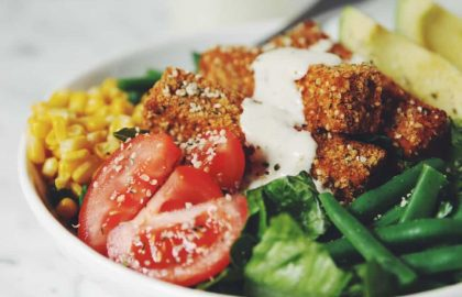 hemp crusted tofu cobb salad_hot for food