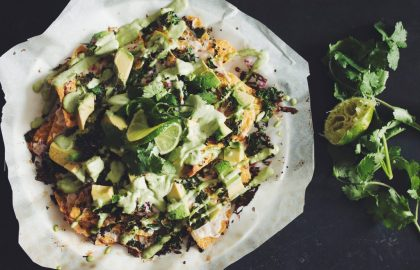 mean green nachos with cilantro sour cream_hot for food