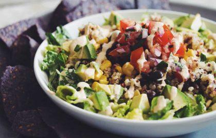 rainbow quinoa taco salad
