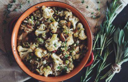 cauliflower chestnut stuffing_hot for food