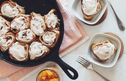 spiced peach cinnamon rolls with whiskey peaches_hot for food