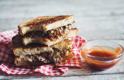 spicy vegan grilled beef cheese sandwich_hot for food