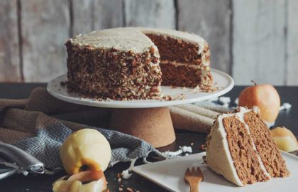 vegan apple spice cake with maple buttercream_hot for food
