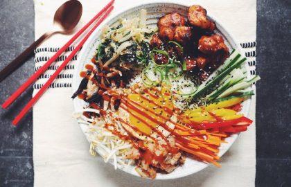 vegan bibimbap with crispy gochujang cauliflower_hot for food