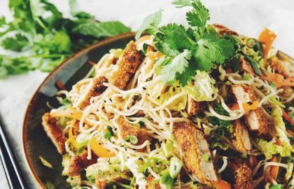 vegan crispy chicken asian noodle salad_hot for food