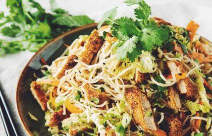 vegan crispy chicken asian noodle salad_hot for food