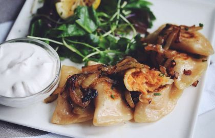 vegan sweet potato & sauerkraut pierogies_hot for food